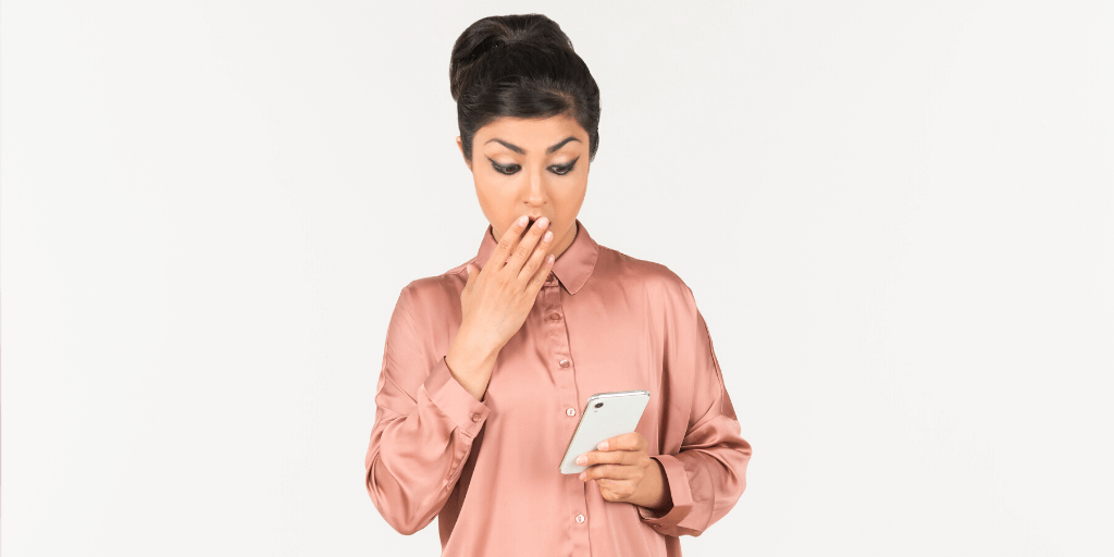 Lady shocked at an unexpected telephone job interview call