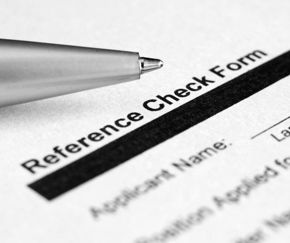 Reference check form being filled in