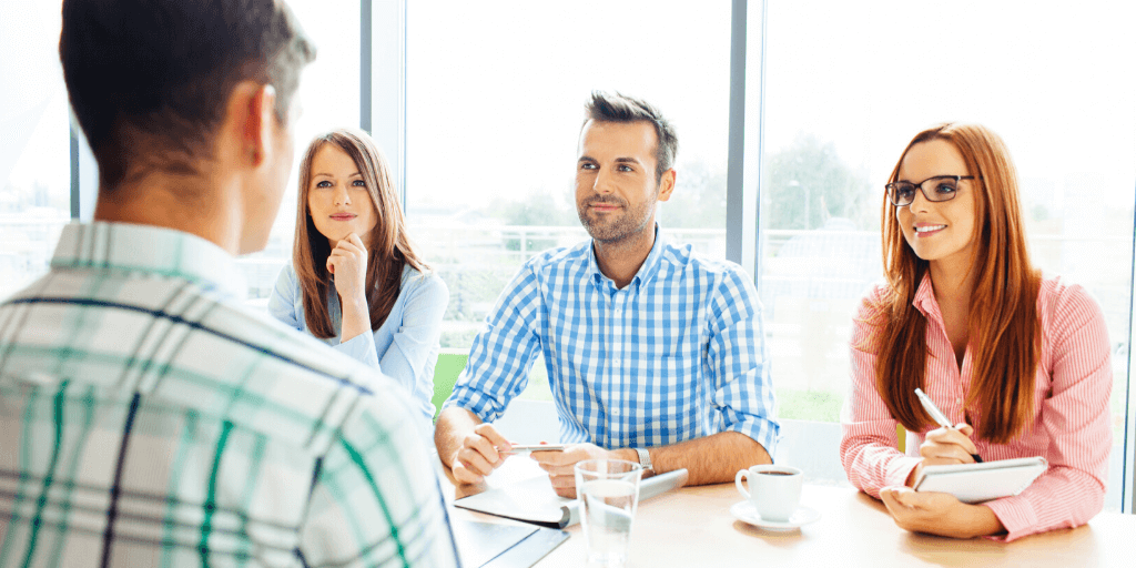 Hiring managers interviewing a candidate with help of in house recruiter
