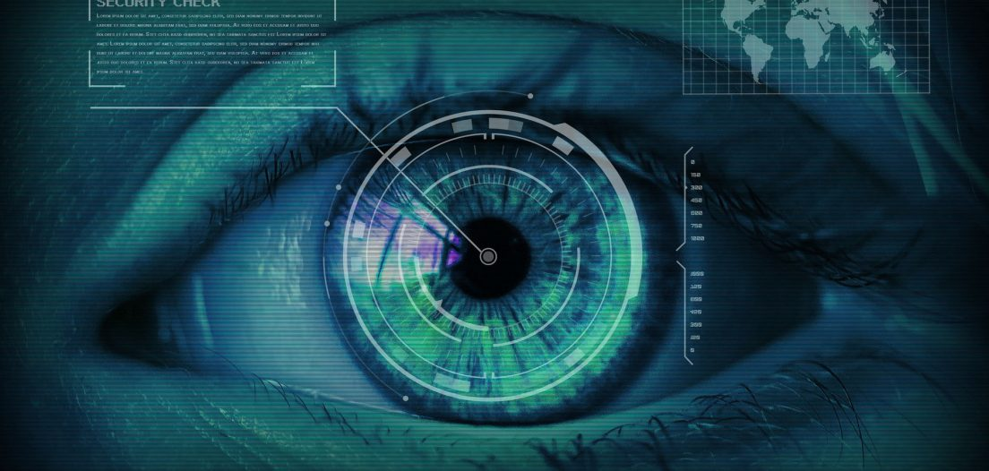 An eye being scanned as part of facial recognition