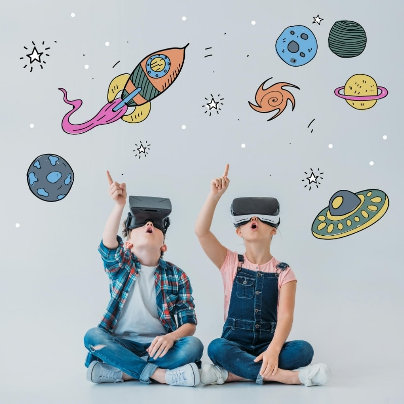 Children using Augmented Reality to experience space within their own living room