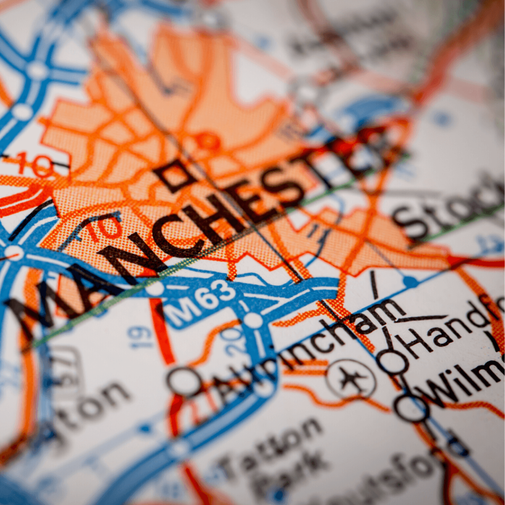 Map of Manchester featuring Stockport, Knutsford, Handforth and Wilmslow where many of our candidates are based