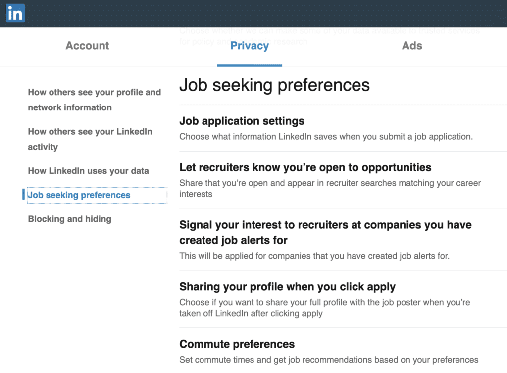 Screenshot of LinkedIn profile preferences that enable you to be headhunted by recruiters