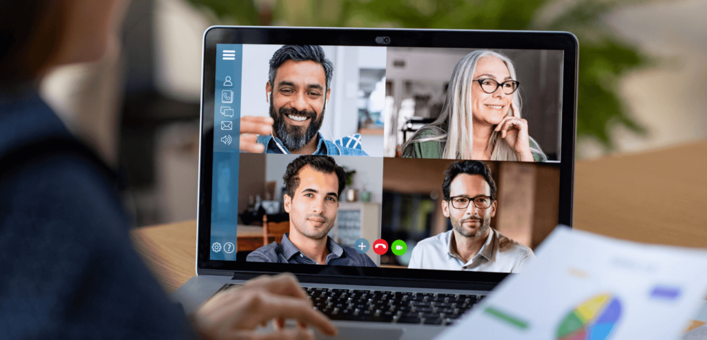 A video conference call, part of the new normal way of working