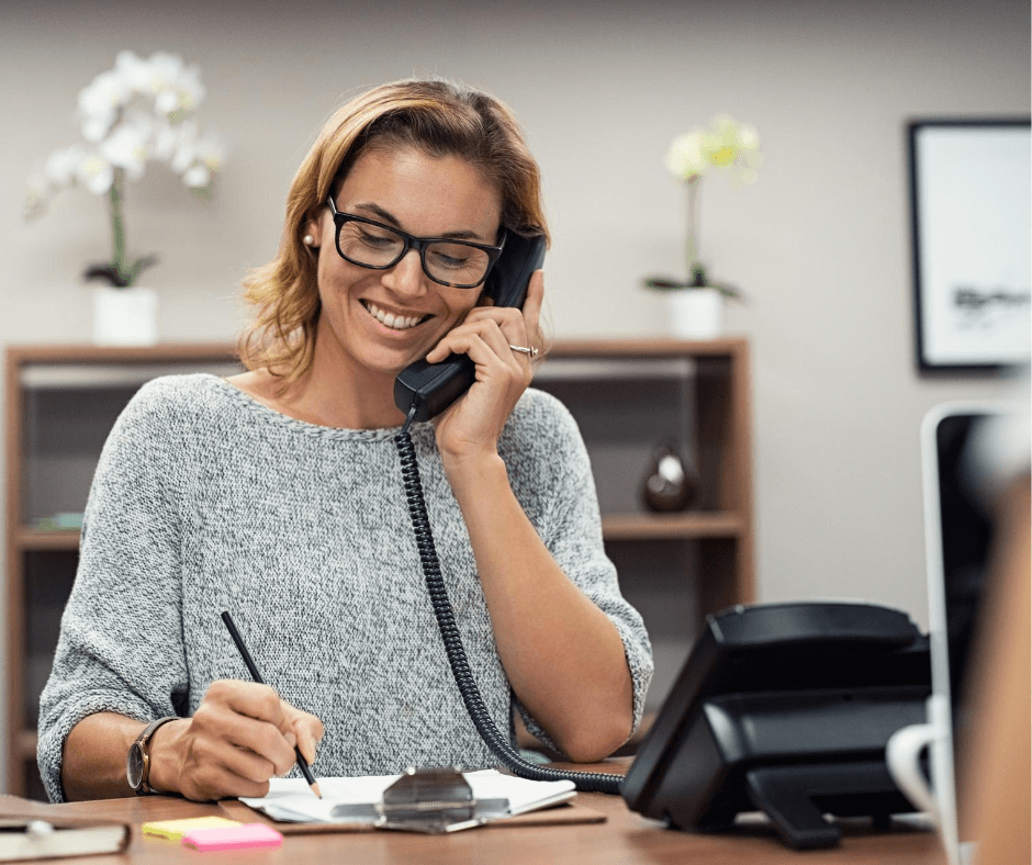 Hiring manager conducting a telephone interview