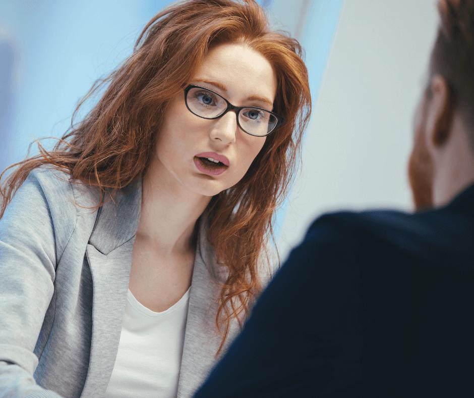 Interviewer questioning an interviewee