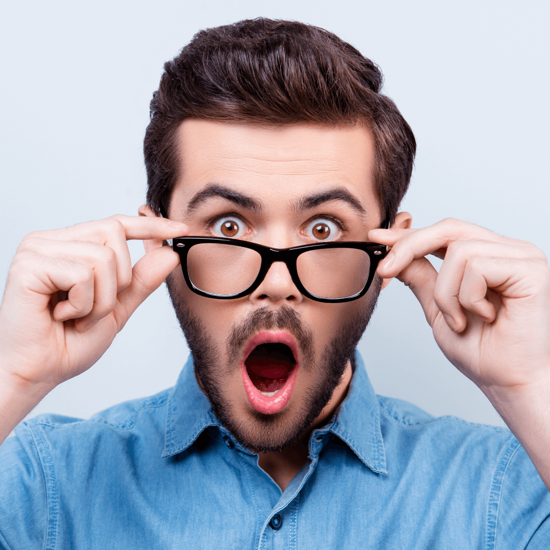 Man with wide eyes and gaping mouth in shock at the statistics he just learnt!