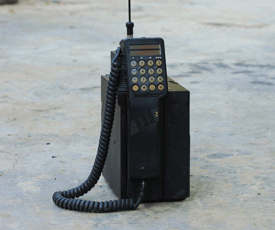 A mobile phone from the 1980s complete with brick-like carry case!