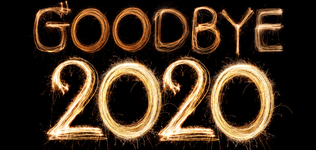 Goodbye 2020 written in sparkling fireworks
