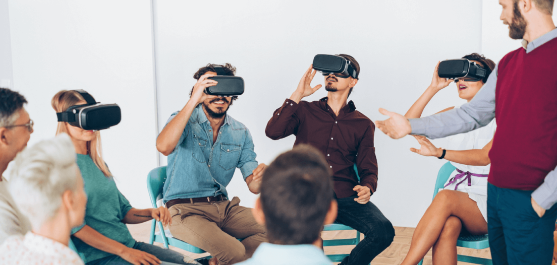 IT Salesperson demonstrating virtual reality product to a client