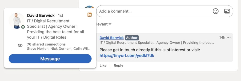 Screenshot showing how to find a recruiters contact details on LinkedIn