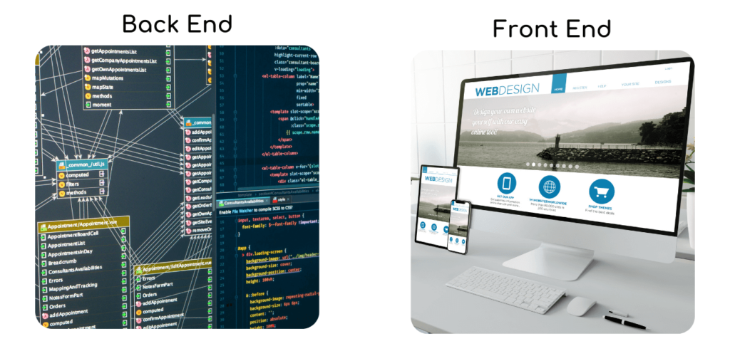 Two visuals explaining the difference between front and back end development