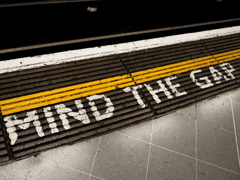 Mind the gap - the IT skills gap that is. Mind the gap painted on the floor of a London underground station