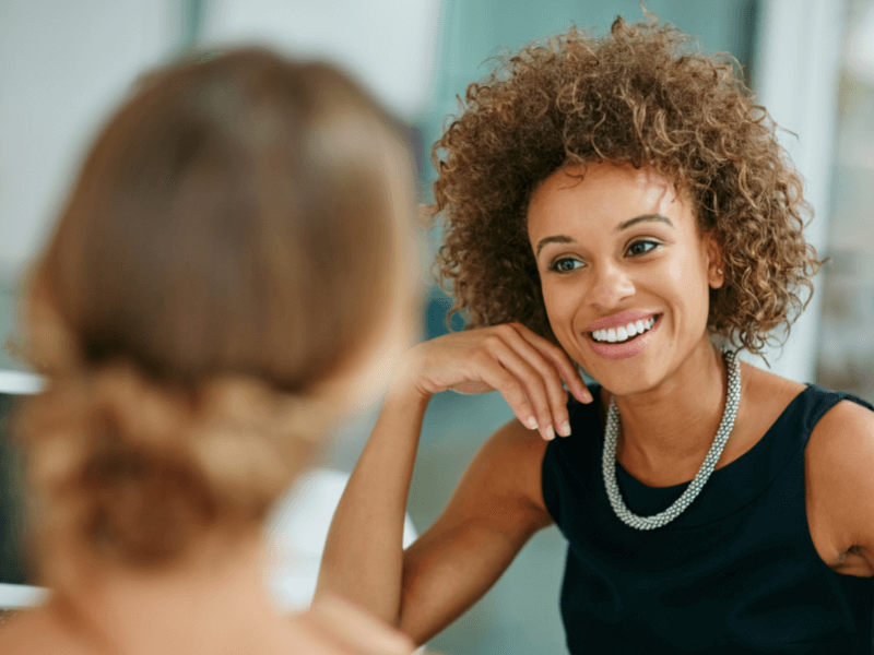 Successful technical recruiter building rapport with her candidates