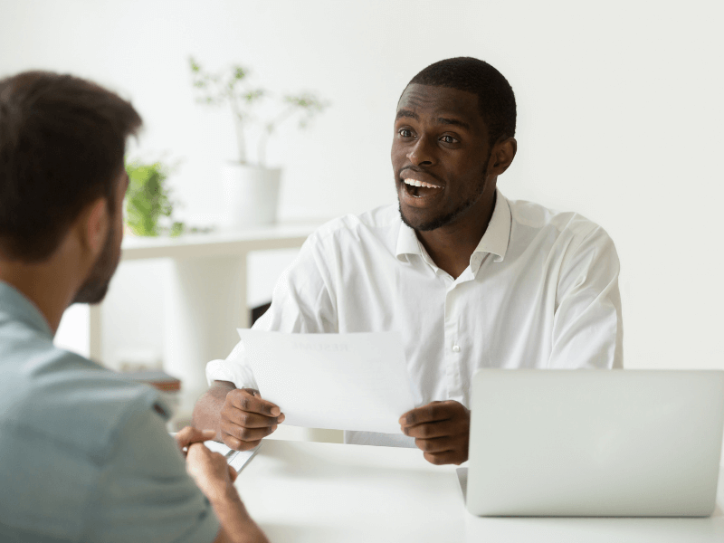 Applicant making a good impression during the interview