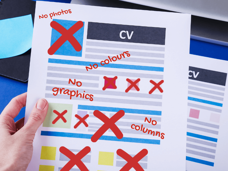 If you want to get your CV past an applicant tracking system, this image shows all the formatting errors to avoid