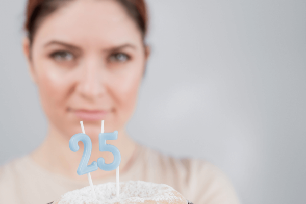 If you're 24 and don't have a career, 25 can seem scary - this lady holding a birthday cake looks worried